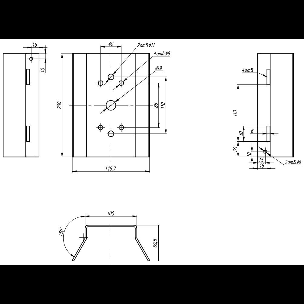 Универсальное крепление на опору (столб, мачту) для CrossBox и ТН