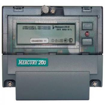 """Счетчик """"Меркурий"""" 200.02 1ф 5-60А 1 класс точн. многотариф.; CAN ЖКИ Моск. вр."""