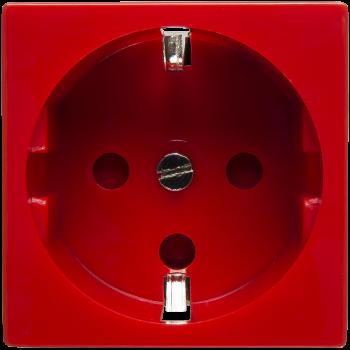 Розетка электрическая 2К+З со шторками и замком (красный)