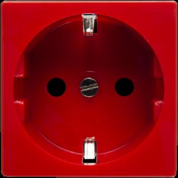 Розетка электрическая 2К+З (красный)