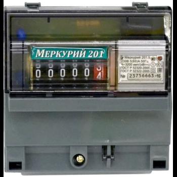 """Счетчик """"Меркурий"""" 201.5 1ф 5-60А 1 класс точн. 1 тариф.; имп. вых. мех"""