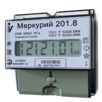 """Счетчик """"Меркурий"""" 201.8 1ф 5-80А 1 класс точн. 1 тариф.; имп. вых."""