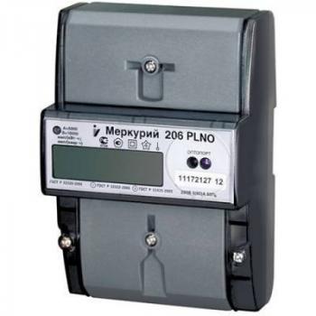 """Счетчик """"Меркурий"""" 206 RN 1ф 5-60А 1.0/2.0 класс точн. многотариф. оптопорт RS485 ЖКИ Моск. вр."""