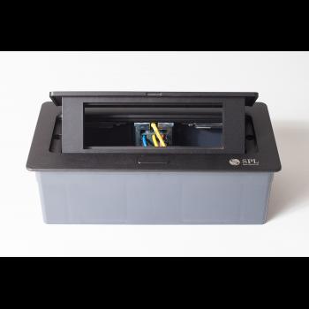 Люк на 3 поста (45х45), металл, черный с пластиковой коробкой, IP40