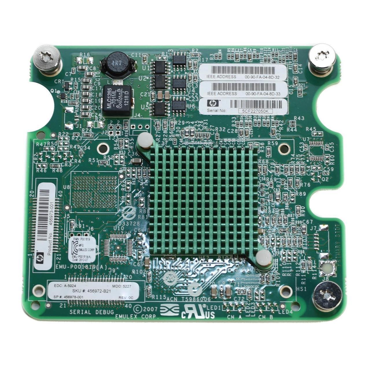 Сетевой mezzanine адаптер LPe1205 8Gb Fibre Channel HBA для HP c-Class блейд-серверов