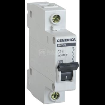Выключатель автоматический модульный 1п С ВА47-29 16А 4.5кА GENERICA ИЭК MVA25-1-016-C