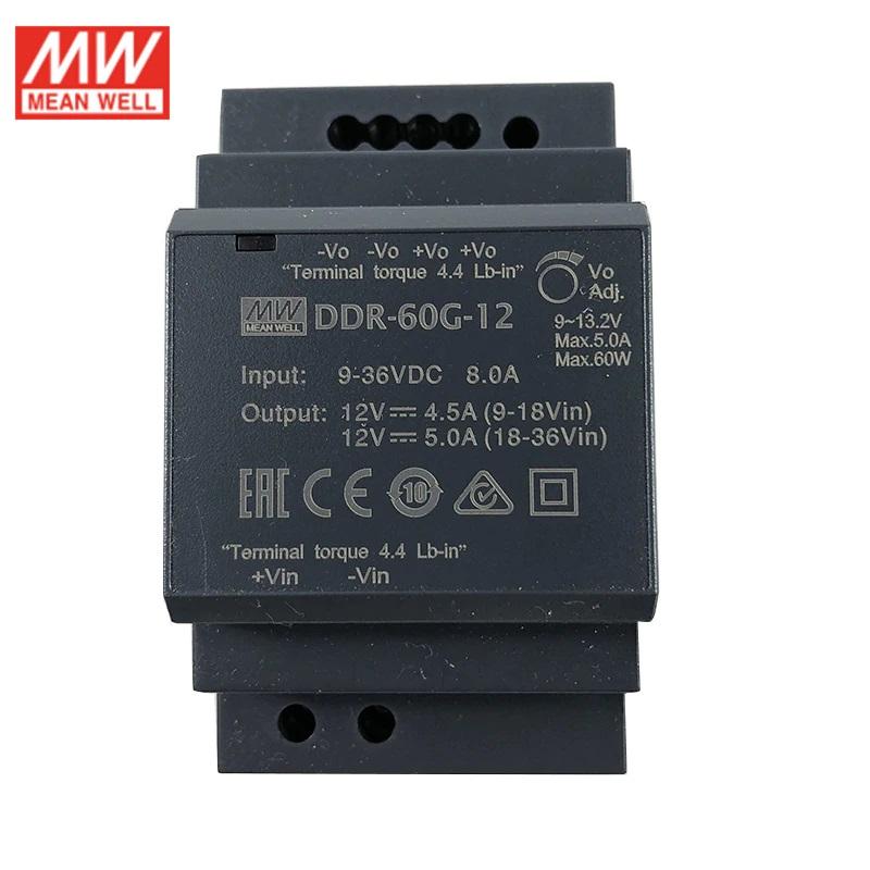 DDR-60G-12, DC/DC преобразователь, 60Вт, вход 9-36В, выход 12В/5А Mean Well