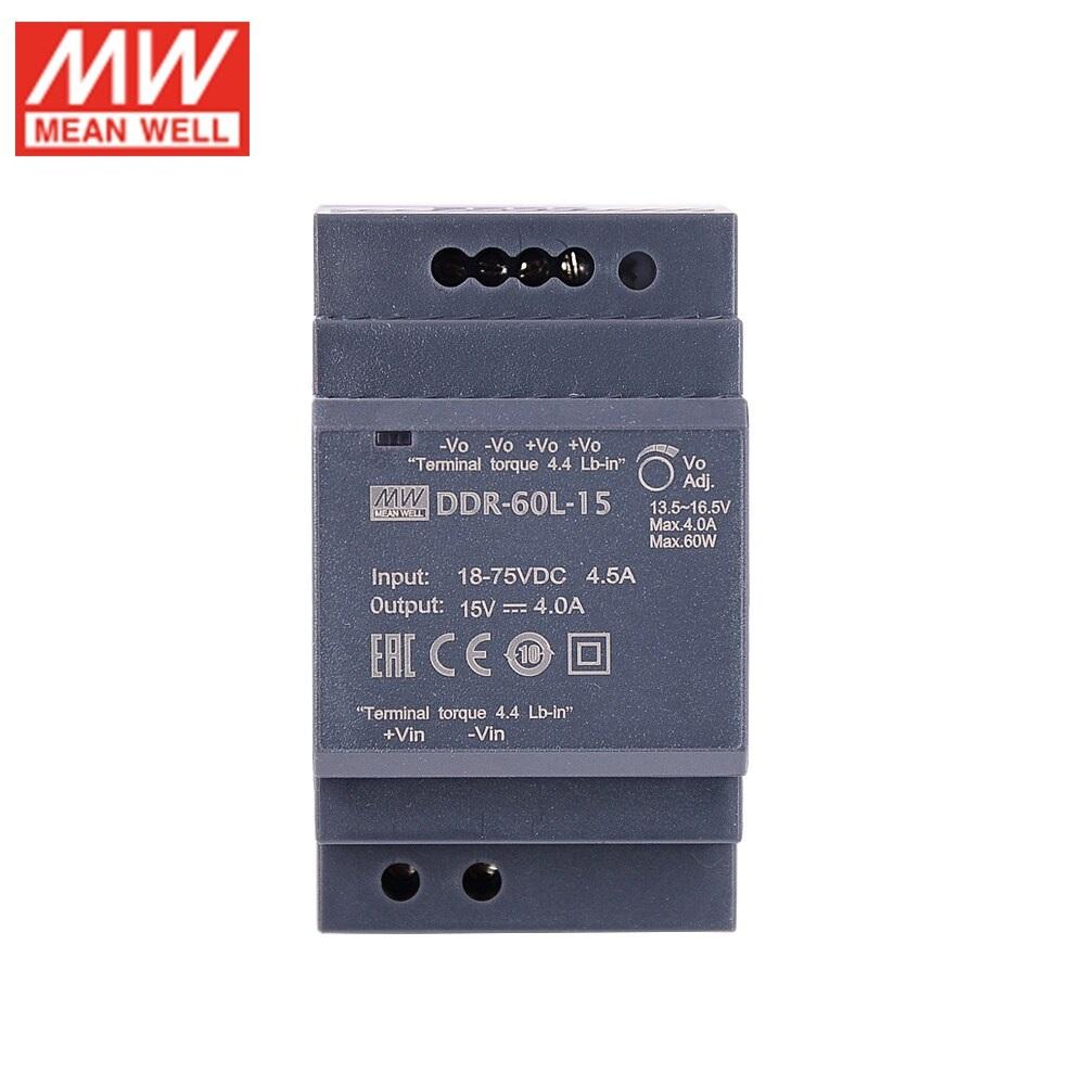 DDR-60L-15, DC/DC преобразователь, 60Вт, вход 18-75В,выход 15В/4А Mean Well