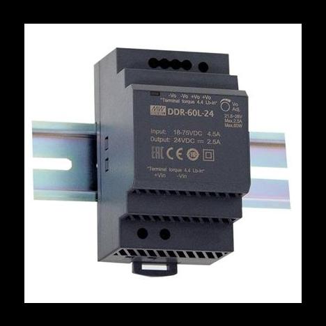 DDR-60L-24, DC/DC преобразователь, 60Вт, вход 18-75В,выход 24В/2.5А Mean Well