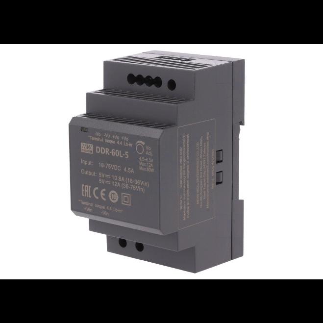 DDR-60L-5, DC/DC преобразователь, 60Вт, вход 18-75В, выход 5В/6А Mean Well