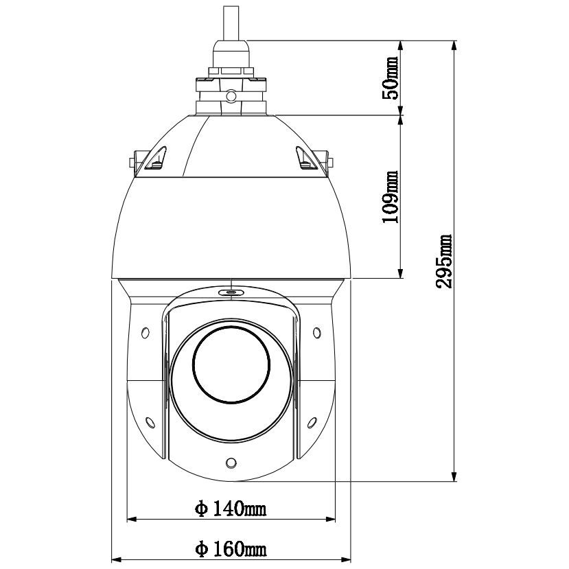 HDCVI камера Dahua DH-SD49225I-HC-S3 скоростная PTZ 2Мп с 25x зумом, Starlight, WDR 120дБ, 1080p, ИК-подсветка до 100м, IP66, DC12B