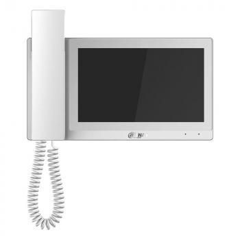IP монитор для видеодомофона Dahua DH-VTH5221EW-H 7 дюймов, с трубкой, трев.вх/вых 6/1, RS485, LAN, MicroSD до 32Гб, DC12В/PoE(802.3af)