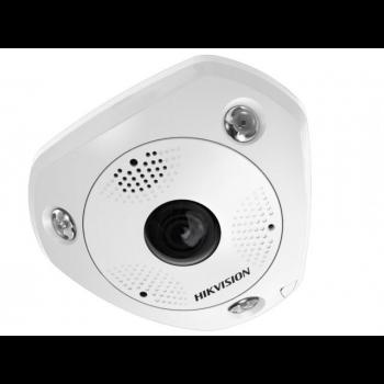"""Миникупольная  IP-камера  """"рыбий глаз"""" DS-2CD6362F-IVS, 6Мп,1.2мм,12V/PoE,ИК подсветка до 15м, объектив Fish Eye,встроенный микрофон."""