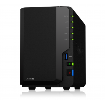 "NAS-сервер Synology DiskStation DS220+, 2xHDD 3,5"", 2х1000Base-T, без дисков"