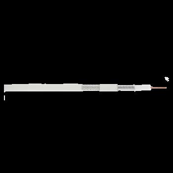Кабель NETLAN коаксиальный, RG-6 (75 Ом), одножильный, CCS (омедненная сталь), внутренний, PVC нг(A), белый, 100м