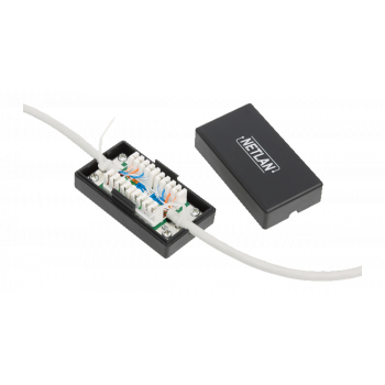 Кабельный соединитель NETLAN IDC-IDC, Кат.5e (Класс D), 100МГц, KRONE, T568A/B, неэкранированный, черный, уп-ка 10шт.