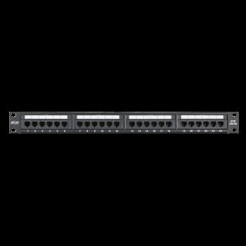 """Коммутационная панель NETLAN 19"""", 1U, 24 порта, Кат.5e (К��асс D), 100МГц, RJ45/8P8C, 110/KRONE, T568A/B, неэкранированная, черная"""