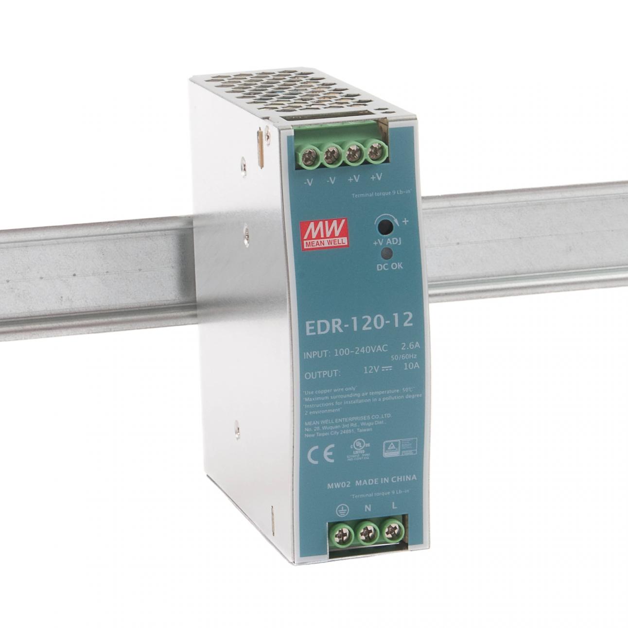 EDR-120-12 Блок питания на DIN-рейку, 12В, 10 А, 120Вт Mean Well