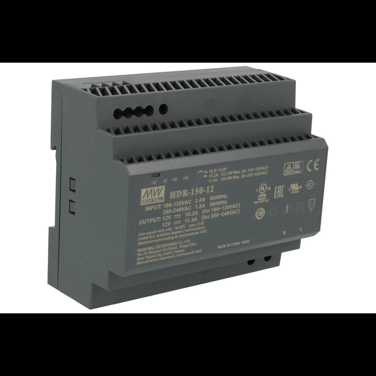 HDR-150-12 Блок питания на DIN-рейку, 12В, 11,3А, 135,6Вт Mean Well