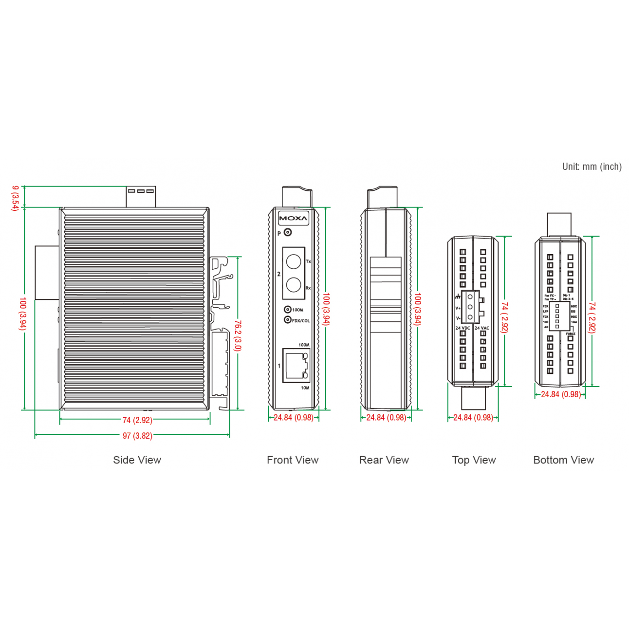 Медиаконвертер Ethernet 10/100BaseTX в 100BaseFX (многомодовое оптоволокно) в пластиковом корпусе MOXA
