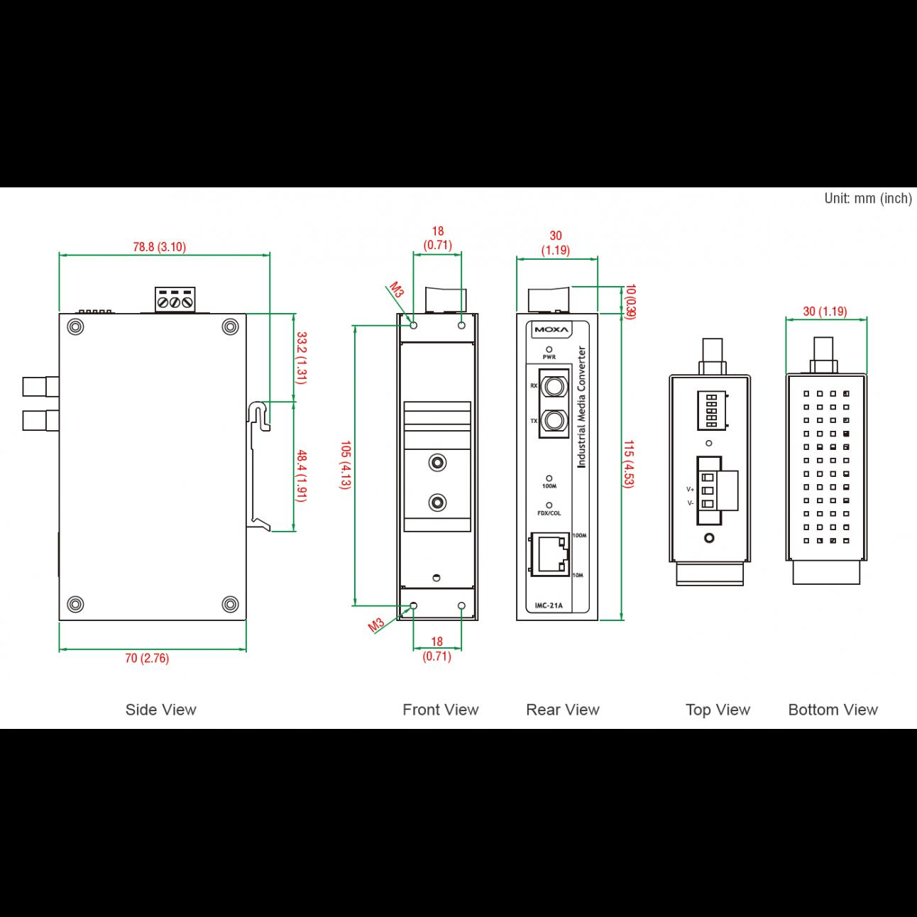Медиаконвертер Ethernet 10/100BaseTX в 100BaseFX (многомодовое оптоволокно) в металлическом корпусе с расширенным диапазоном температур MOXA