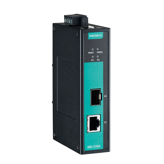 IMC-21GA Медиаконвертер Gigabit Ethernet 10/100/1000BaseTX в 100/1000BaseSFP в металлическом корпусе MOXA