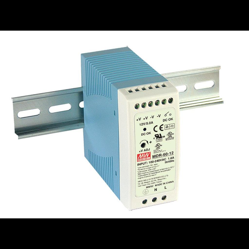 MDR-60-5 Компактный блок питания на DIN-рейку, 5В, 10А, 60Вт Mean Well