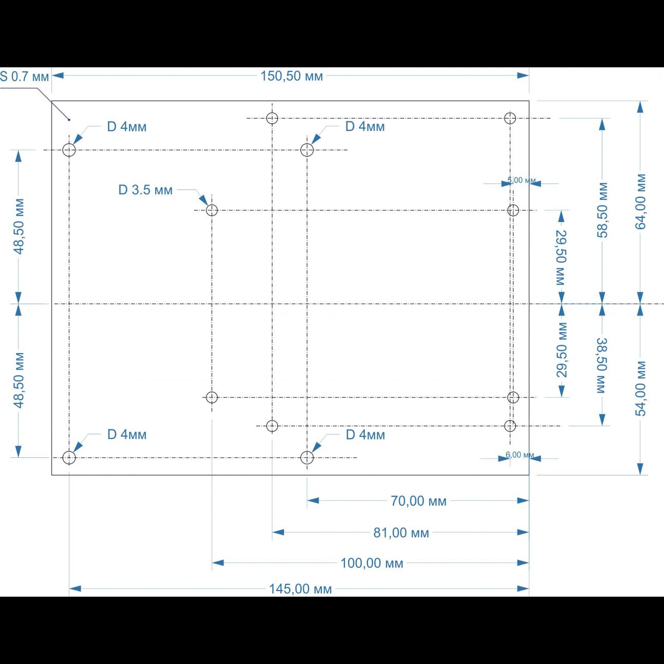 Монтажная пластина ОЦ 0,7 мм.для AX-BOX