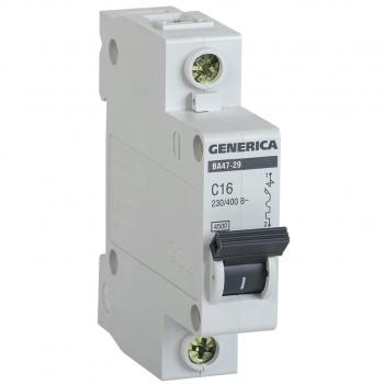 Выключатель автоматический модульный 1п C 6А 4.5кА ВА47-29 GENERICA ИЭК MVA25-1-006-C