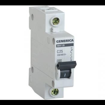 Автоматический выключатель ВА47-29 1P 10А 4.5кА х-ка С GENERICA ИЭК