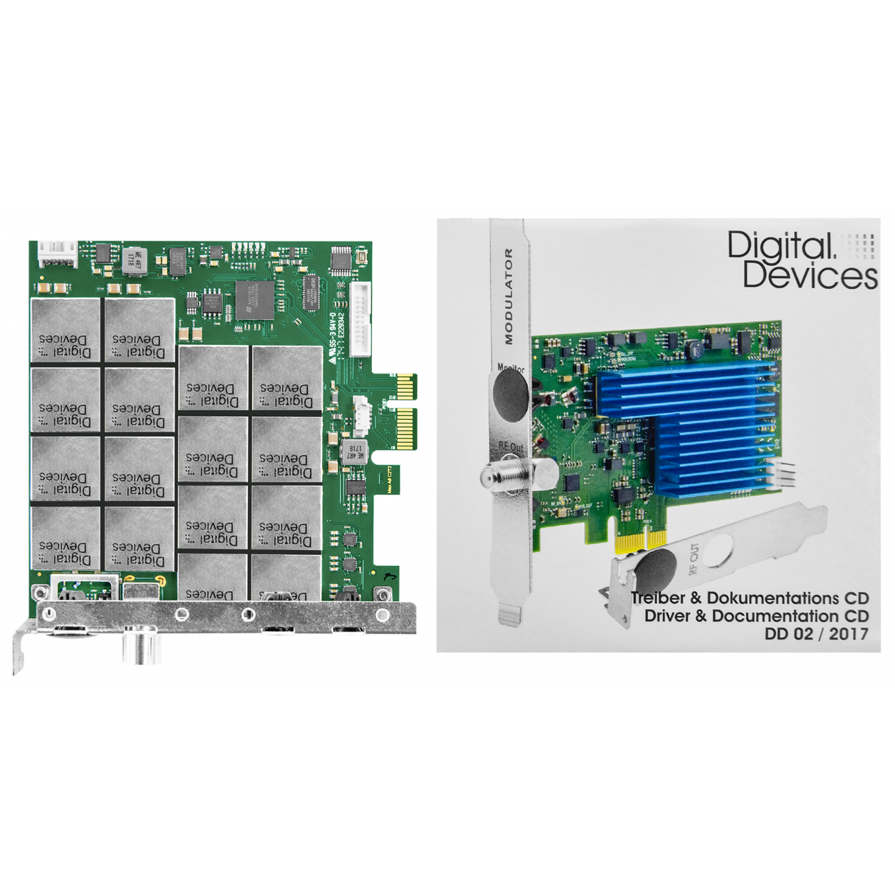 Карта 8-тюнерного приемника DVB-T/T2/C/C2 PCIe