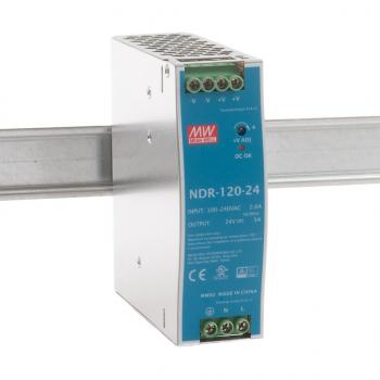 NDR-120-24 Блок питания на DIN-рейку, 24В, 5 А, 120Вт Mean Well