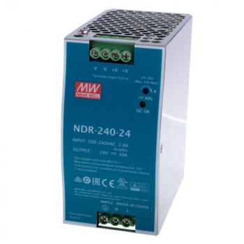 NDR-240-24 Источник питания AC/DC; 240Вт; Uвх:90…264V AC; Uвых:24В/10A рег, Mean Well