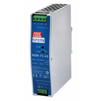 NDR-75-48 Блок питания на DIN-рейку, 48В, 1,6 А, 75Вт Mean Well