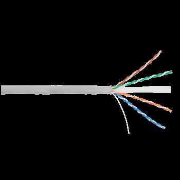 Кабель NIKOLAN U/UTP 4 пары, Кат.6 (Класс E), тест по ISO/IEC, 250МГц, одножильный, BC (чистая медь), 24AWG (0,53мм), внутренний, PVC нг(А), серый