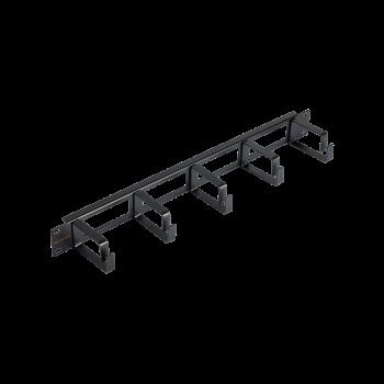 """Кабельный органайзер NIKOMAX 19"""", 1U, глубина колец 60мм, металлический, с отверстиями в опорной планке, черный, уп-ка 2шт."""