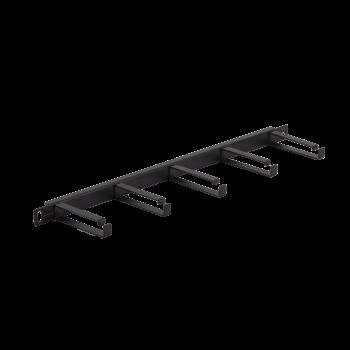 """Кабельный органайзер NIKOMAX 19"""", 0,5U, глубина колец 80мм, металлический, черный, уп-ка 2шт."""