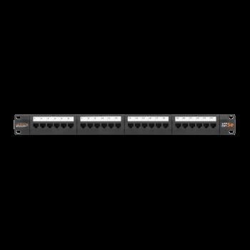"""Коммутационная панель NIKOMAX 19"""", 1U, 24 порта, Кат.5e (Класс D), 100МГц, RJ45/8P8C, 110/KRONE, T568A/B, неэкранированная, с органайзером, черная"""