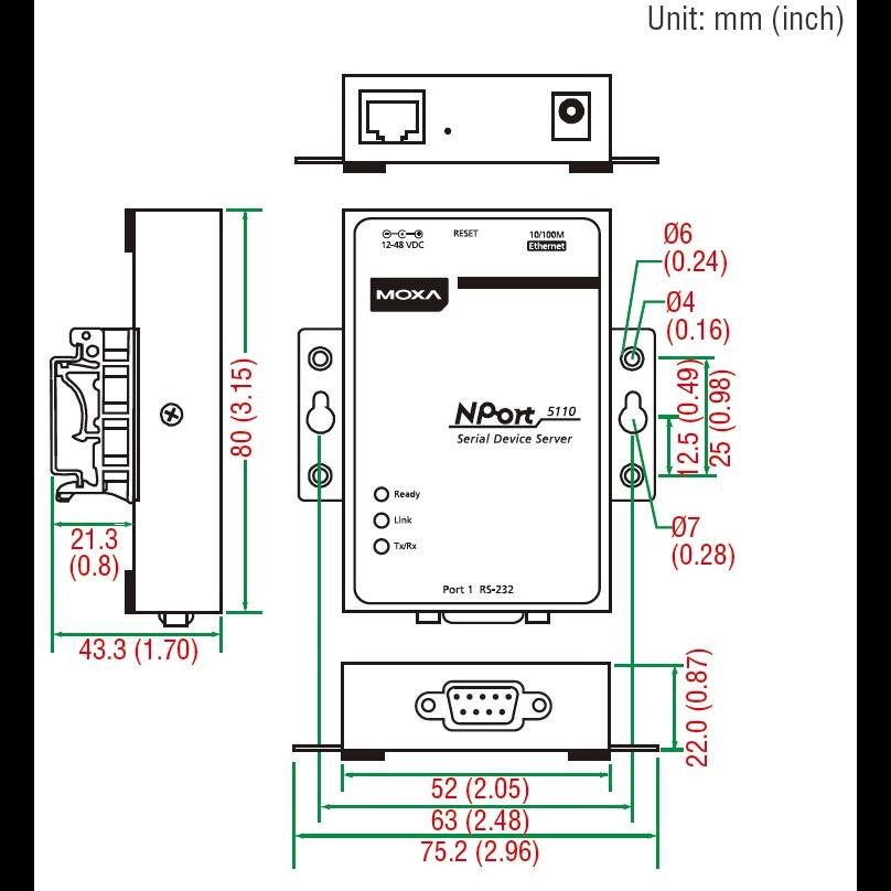 NPort 5150 1-портовый асинхронный сервер RS-232/422/485 в Ethernet MOXA
