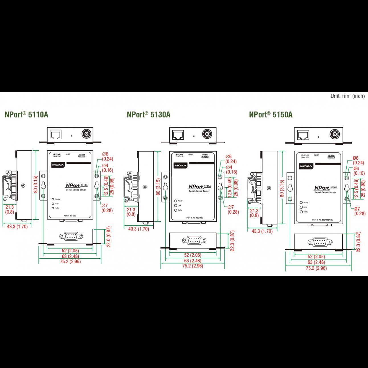 NPort 5150A 1-портовый усовершенствованный асинхронный сервер RS-232/422/485 в Ethernet MOXA
