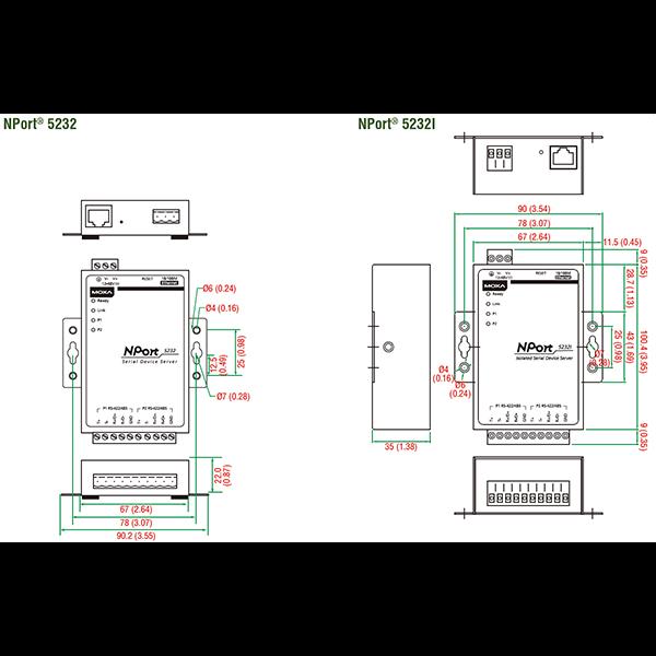 NPort 5232 2-портовый асинхронный сервер RS-422/485 в Ethernet MOXA