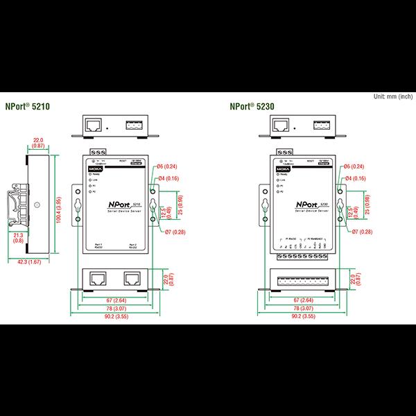 NPort 5232i 2-портовый асинхронный сервер RS-422/485 в Ethernet с изоляцией 2 КВ