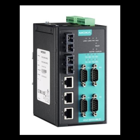 NPort S8455I-SS-SC 4-портовый преобразователь RS-232/422/485 в Ethernet cо встроенным Ethernet-коммутатором