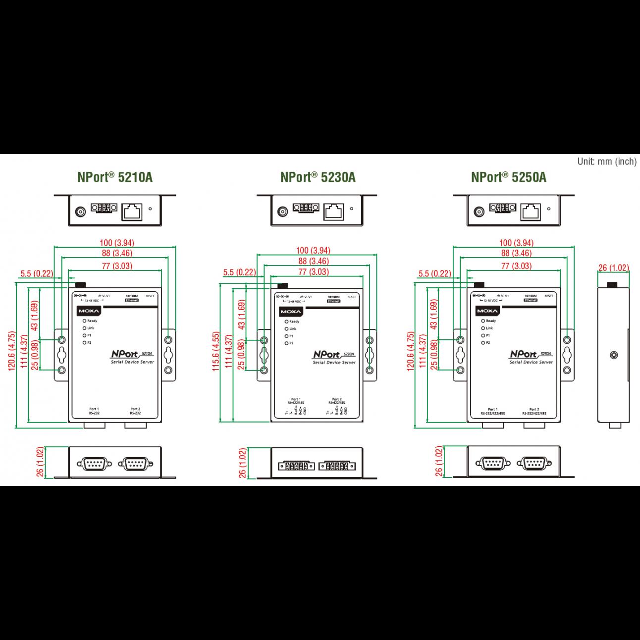 Nport 5210A 2-портовый усовершенствованный асинхронный сервер RS-232 в Ethernet MOXA