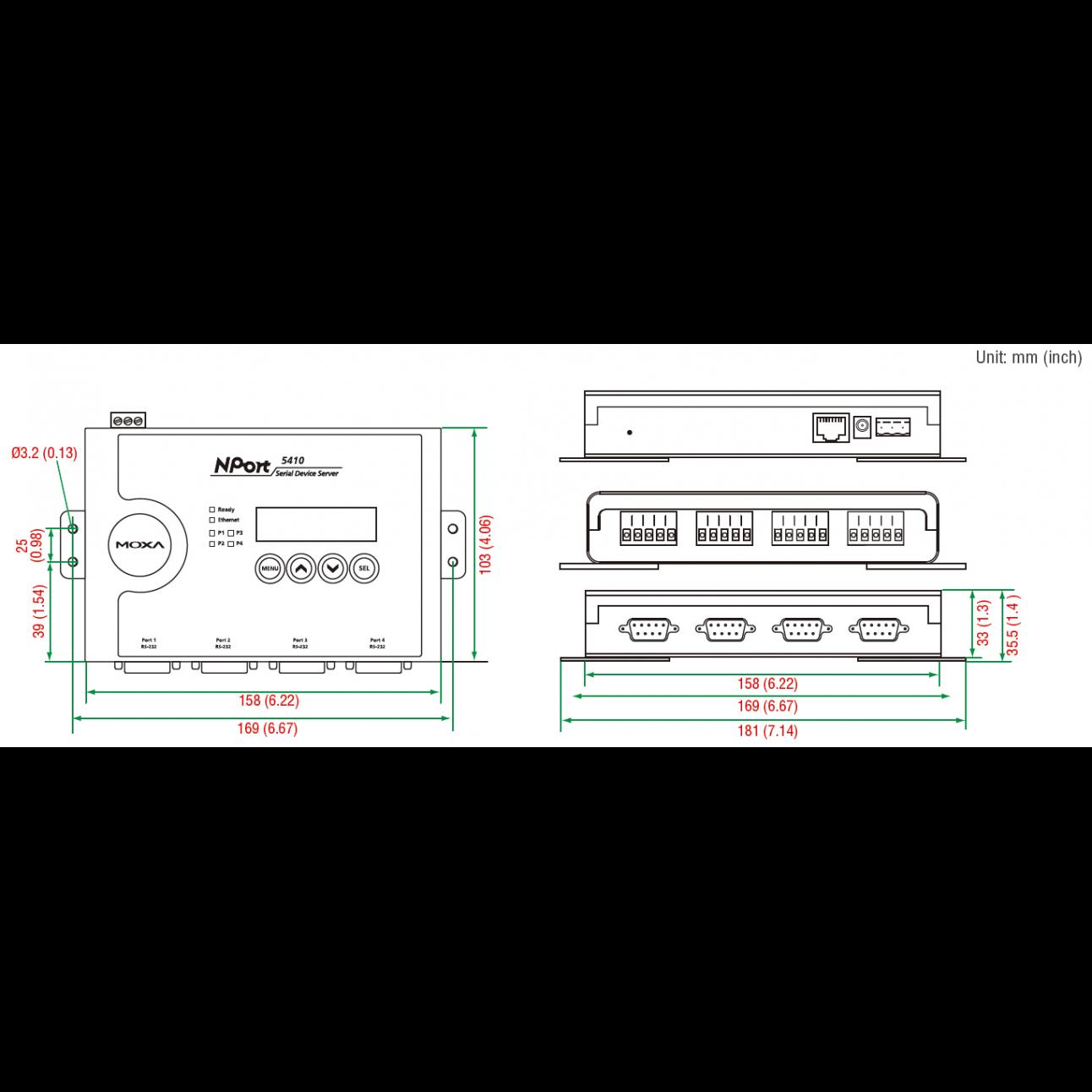 Nport 5410 4-портовый асинхронный сервер RS-232 в Ethernet MOXA