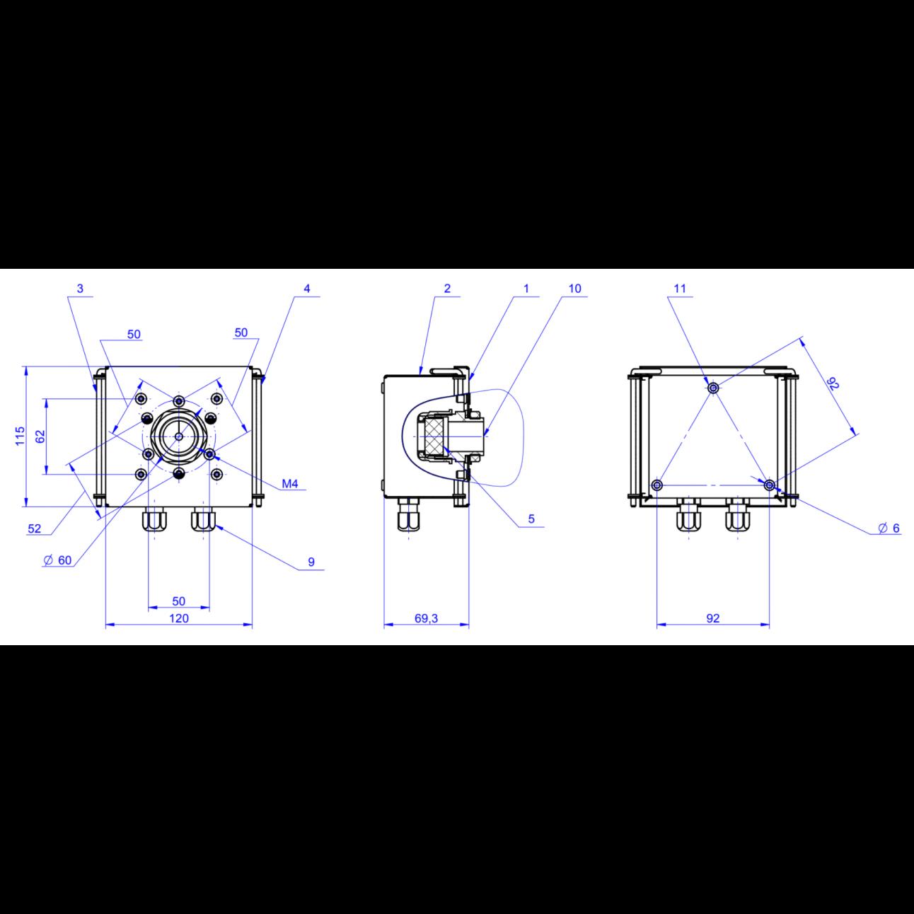 Монтажная коробка для VF камер OMNY, монтаж на стену или на кронштейн