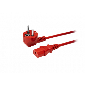 Кабель питания EU-Schuko/IEC320-C13, 220B, 10А, 1.8м, красный (для резервного питания)