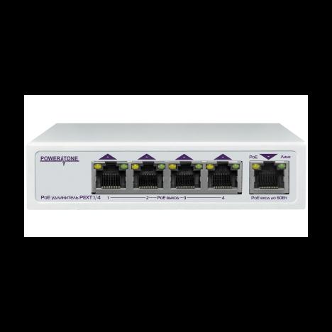 PoE коммутатор/удлинитель интерфейса Ethernet 10/100/1000Mbs PEXT 1/4. 4 PoE выхода, 1 PoE вход, совм. с 802.3af/at, до -40С