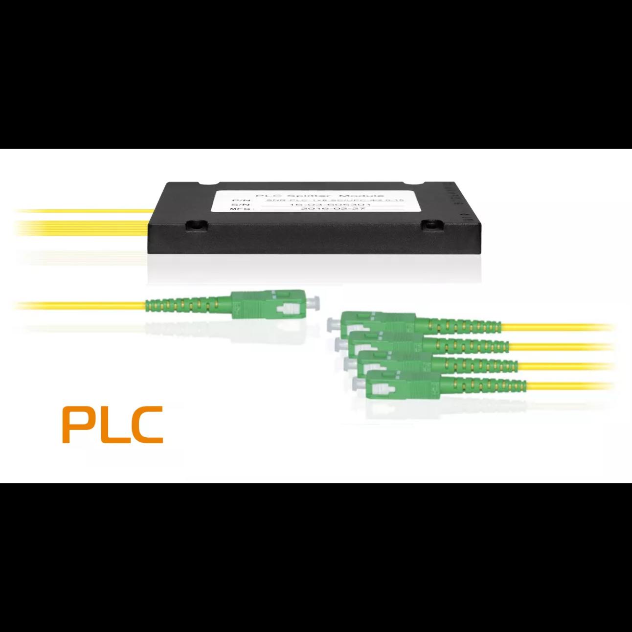 Делитель оптический планарный SNR-PLC-1x4, корпус, разъемы SC/APC