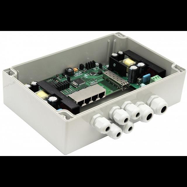 Уличный неуправляемый PoE коммутатор TFORTIS PSW-1 4FE PoE 1 оптический порт SC 100mb 1310нм, питание 220В, IP66